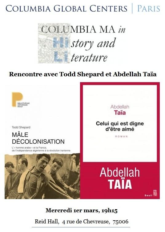 et l'écrivain Abdellah Taïa à l'occasion de la parution de leurs respectifs récents ouvrages : Mâle décolonisation. L '« homme arabe » et la France.
